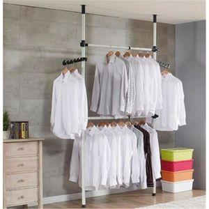 2 p les porte v tement cintre rack armoire chambre heavy duty r glable maison achat vente. Black Bedroom Furniture Sets. Home Design Ideas