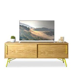 meuble tv design bois et m tal ashburn couleur jaune achat vente meuble tv meuble tv design. Black Bedroom Furniture Sets. Home Design Ideas