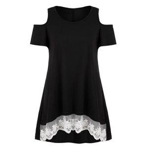 T-SHIRT T-shirt Femme Dentelle Col Rond Manches Courtes Ep