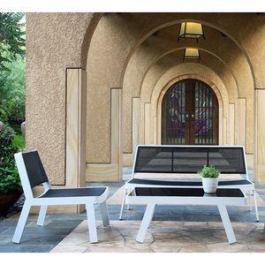 Salon de jardin blanc en aluminium 5 places - Achat / Vente salon de ...