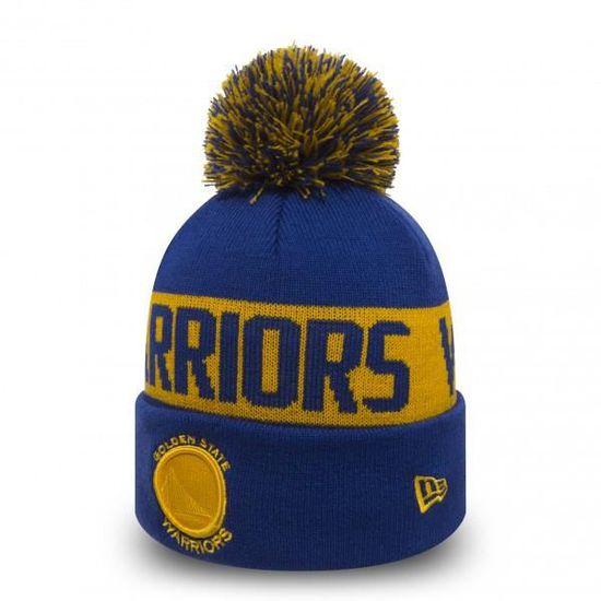 572c72ffb79a Bonnet NBA Golden State Warriors New Era Team Tonal Bleu avec pompon ...