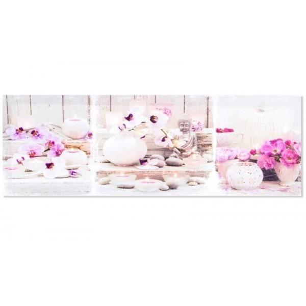 cadre toile zen bouddha et fleur 60 x 20 cm achat vente tableau toile cdiscount. Black Bedroom Furniture Sets. Home Design Ideas
