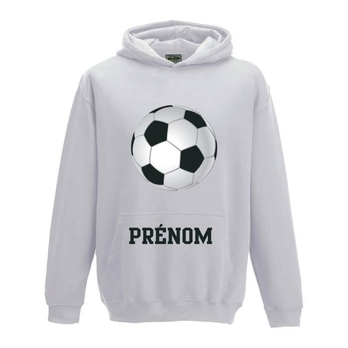 Sweat à capuche Enfant Ballon de Football avec prénom personnalisé 5 6 ANS  - blanc ec9d97b4ca73