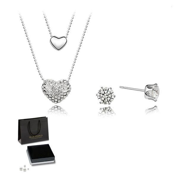 Parure Double Pendentif Coeur et Boucles doreilles Cristal Swarovski Elements Blanc
