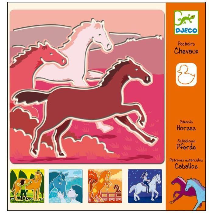 djeco 5 pochoirs chevaux jeux loisirs creatifs achat vente pochoir cr atif djeco pochoir. Black Bedroom Furniture Sets. Home Design Ideas
