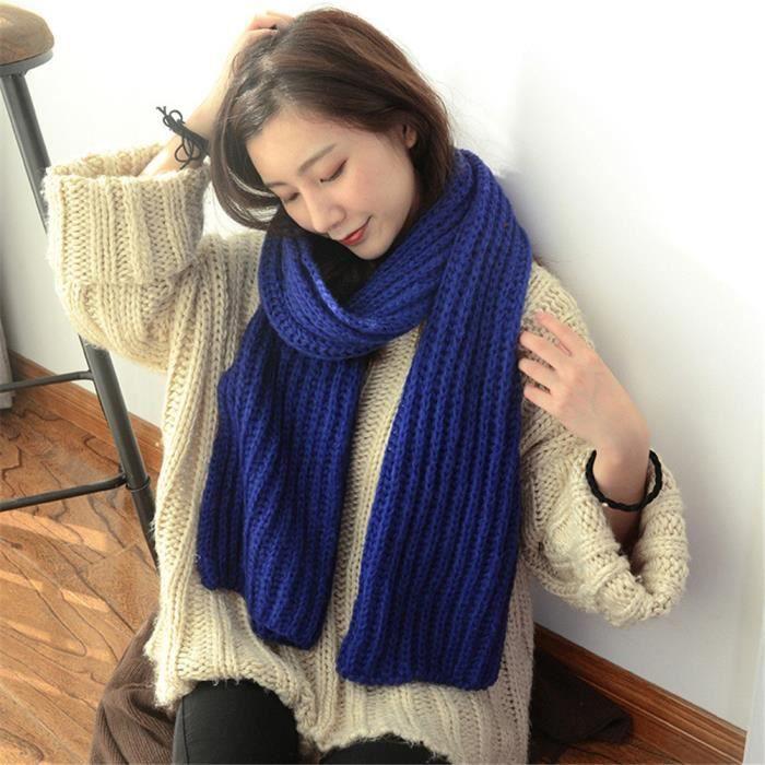 b9cbc6d91 Longue écharpe bleu fonce hiver bavoir épaisse solide tricotée en laine  femmes adultes