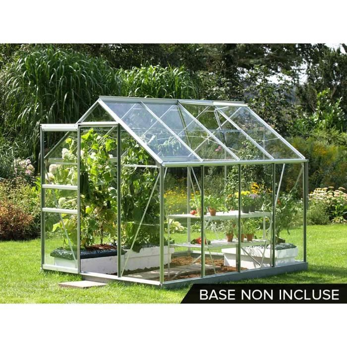 Serre de jardin alu et verre trempé Vénus 5 m² - Gris - Achat ...
