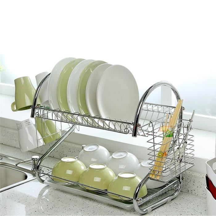 tempsa 2 tier gouttoir vaisselle assiette plat cuelle verre support cuisine argent achat. Black Bedroom Furniture Sets. Home Design Ideas