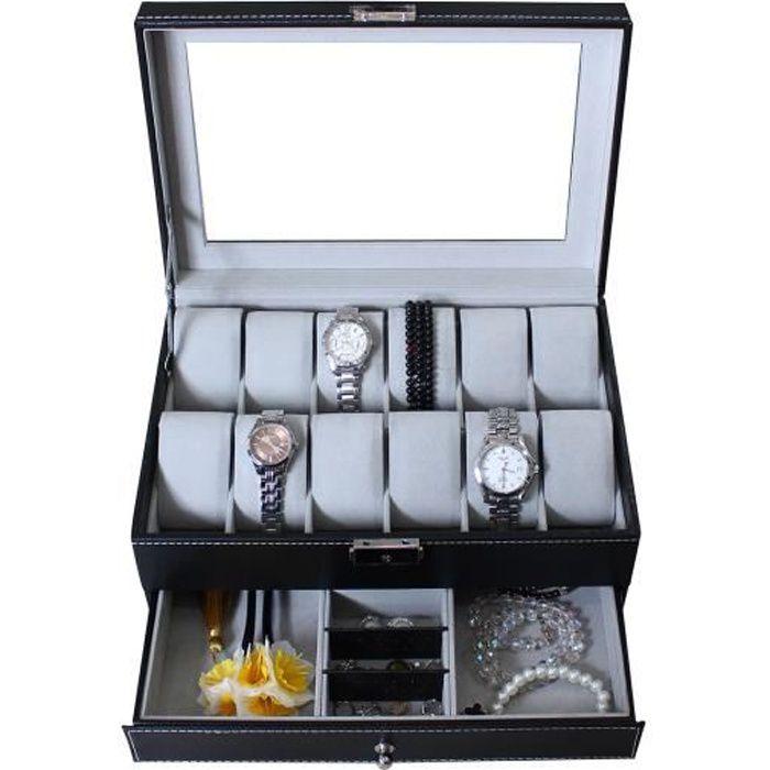 bo te montres et bijoux pr sentoir 12 montres tiroir bijoux et vitre d 39 exposition gris. Black Bedroom Furniture Sets. Home Design Ideas