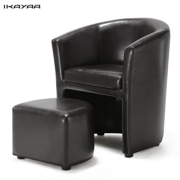 IKAYAA Fauteuil Sofa Canapé+ pouf en Simili Cuir relax Cabriolet ...