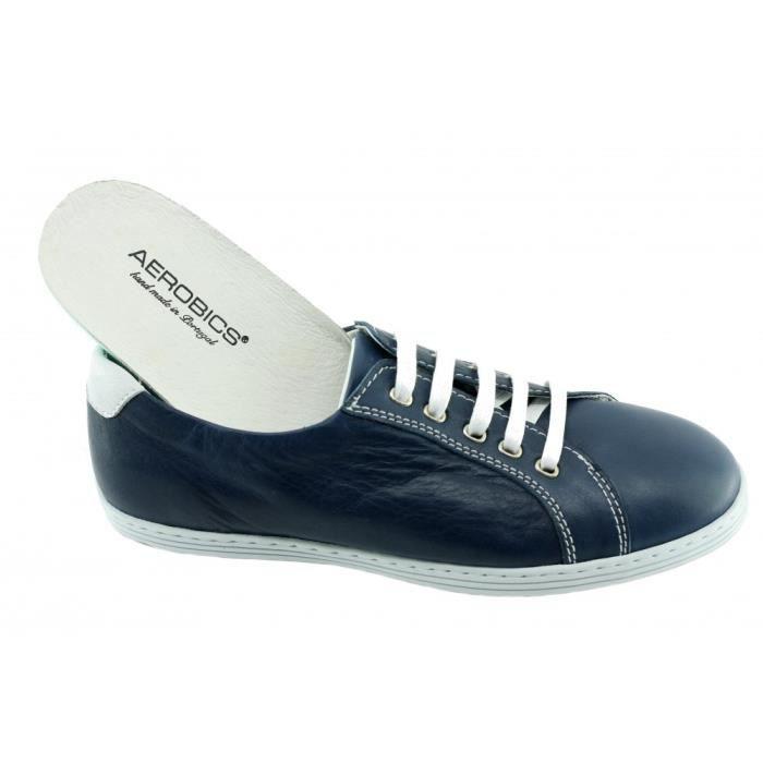 confortable 46 Chaussures blanche Homme pointure semelle cuir 39 fabriqué bleu en Portugal souple amp; Rey Baskets Tennis cuir 8OnxAqqd