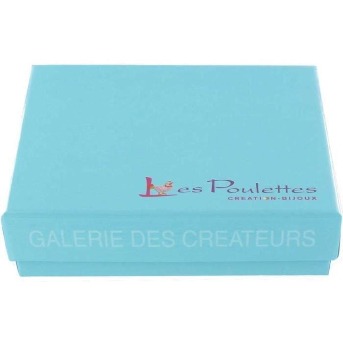 Les Poulettes Bijoux - Collier Chaine Argent Rhodié Soleil de Nacre et Pépites de Larimar