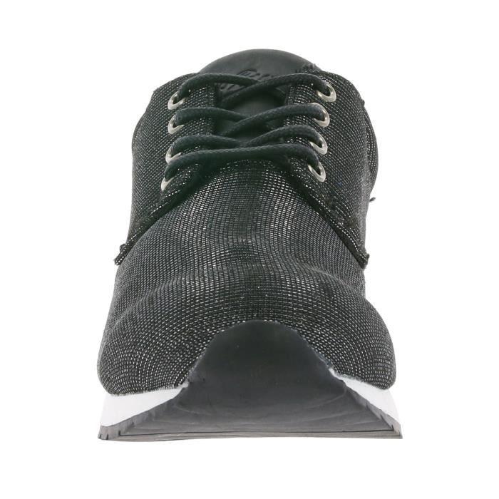 LICO Brillant Baskets Sneaker pour Femme Noir