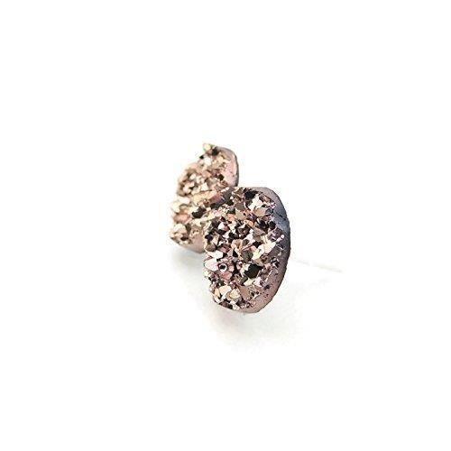 Metallic Rose femmes dor tons, 12mm ronds Faux Druzy Goujons sur nickel en acier inoxydable Messages MII7D