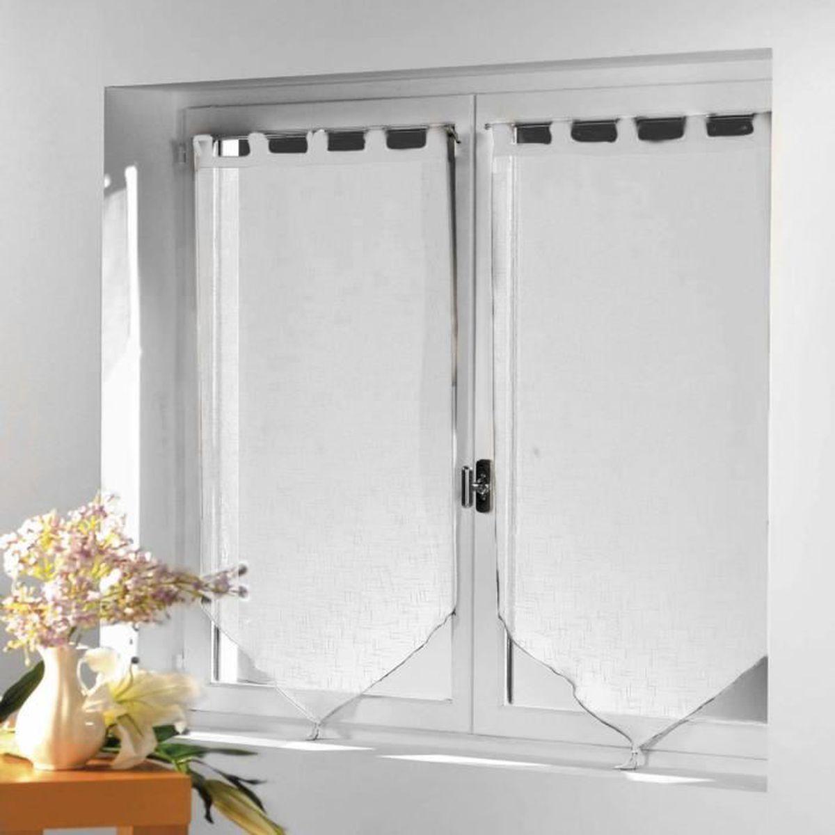 Paire rideau voilage Luminea 60cm x 160cm - Blanc - Pointe à Pompon ...