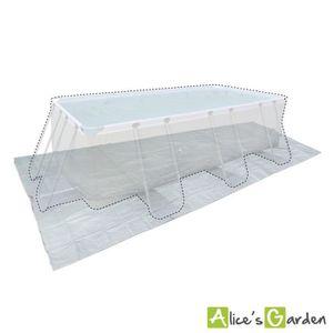 BÂCHE - COUVERTURE  Tapis de sol gris 472 x 265 cm pour piscine rectan