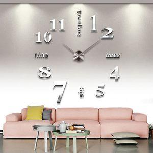 HORLOGE - PENDULE Horloge Murale Numérique Sticker Amovia DIY 3D Acr