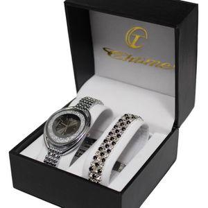 PACK MONTRE coffret cadeau montre femme cristal argenté metal