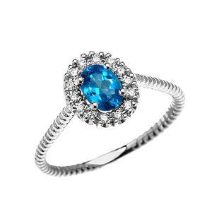 BAGUE - ANNEAU Bague Femme 10 Ct Or Blanc Diamant Et Ovale Bleu T