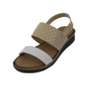 SANDALE - NU-PIEDS PREGUNTA, Sandale femme en cuir et élastique blanc
