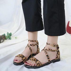 SANDALE - NU-PIEDS Femmes Mode Leopard Casual Boucle sangle talons ba