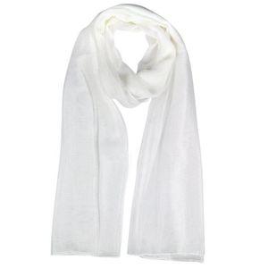SODIAL(R) Mode Dames blanc doux Longue en mousseline de soie grande echarpe  Cou bbf85afe7cd