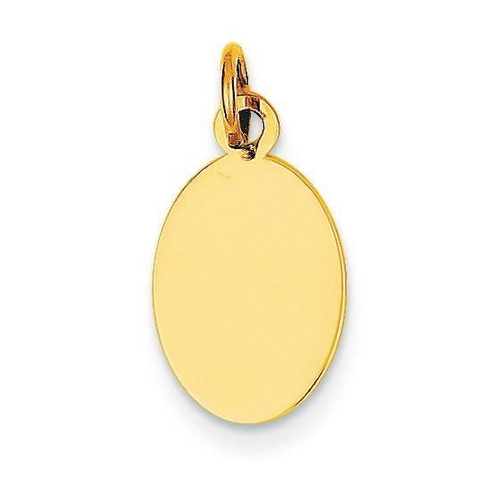 14 carats-Tirant .013 Engraveable disque charme ovale