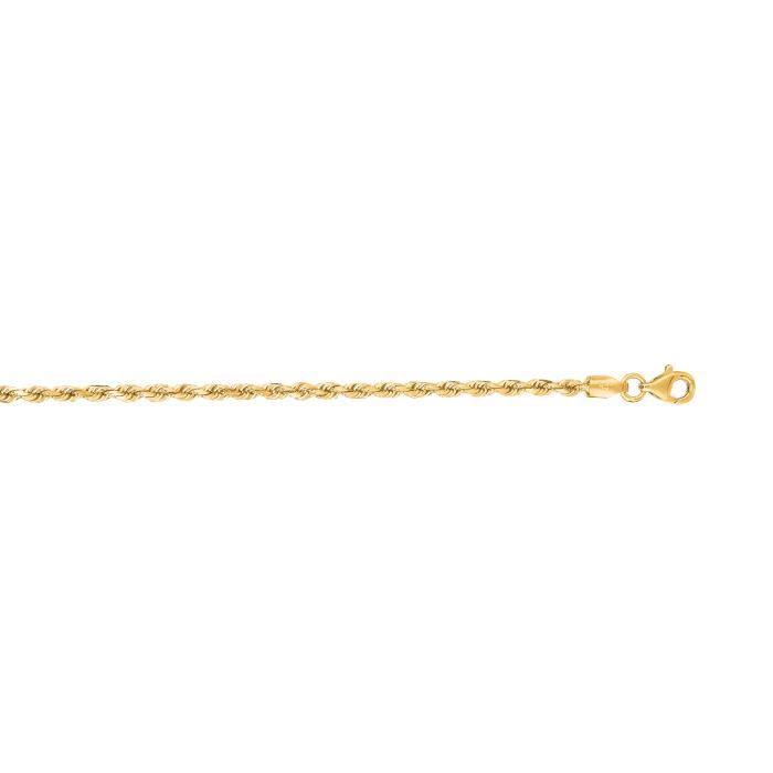 Or jaune 14 carats D/C 20 X 2,5 mm corde chaîne collier