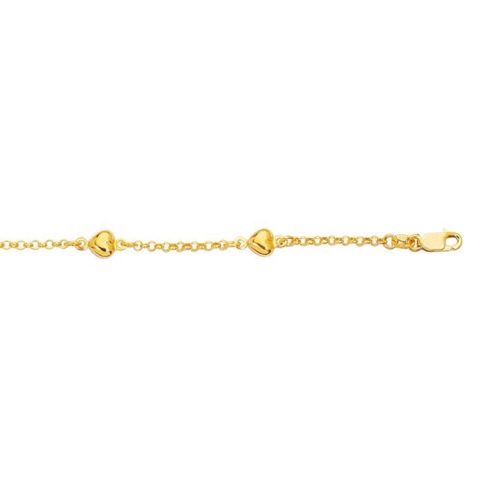 Collier coeur jaune 14 carats et cheville 10 cm