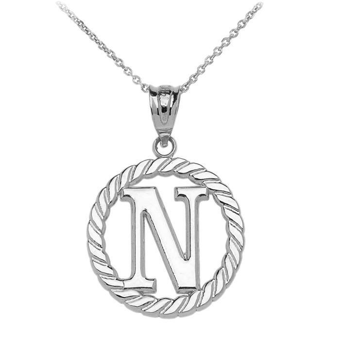 Collier Femme Pendentif 925 Argent Fin N Initiale À Corde Cercle (Livré avec une 45cm Chaîne)