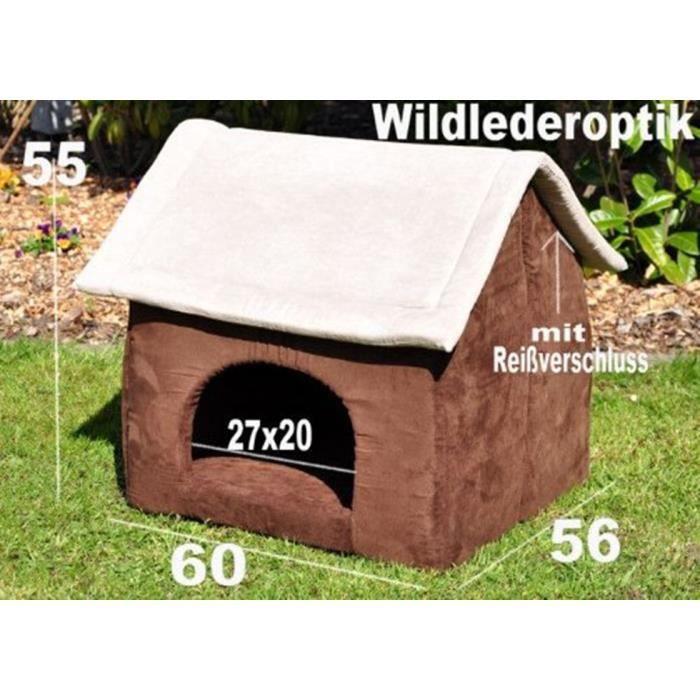 Maison pour chien chat imitation croûte de cuir Marron gris 60 x 56 ... 6262a1448d10
