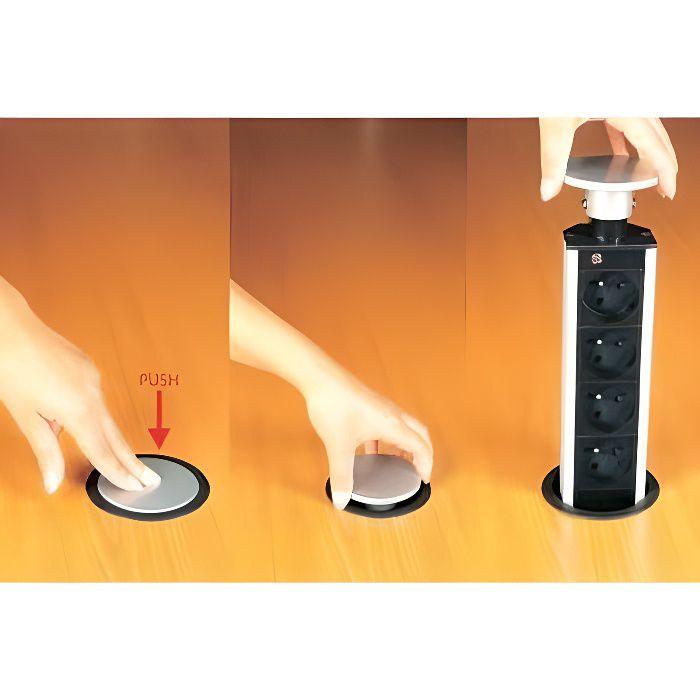 bloc 4 prises escamotable achat vente multiprise bloc 4 prises escamotable cdiscount. Black Bedroom Furniture Sets. Home Design Ideas