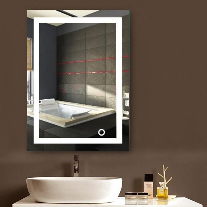 eclairage led miroir salle de bain Miroir LED Lampe de Miroir Éclairage Salle de Bain Miroir Lumineux Verre  Trempé 22W-Blanc froid 6500K- 500*700mm