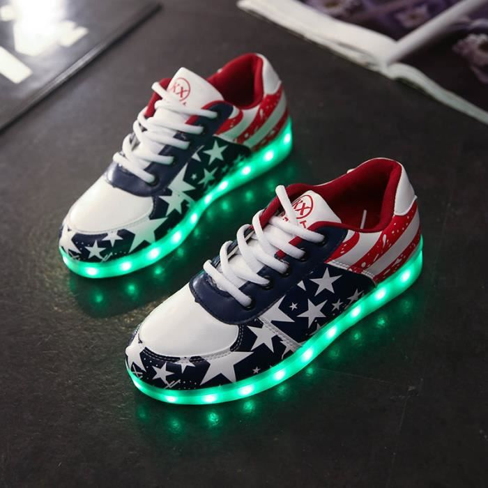 Unisexe Colorful Led Lumi re Usb Chargeur Chaussures