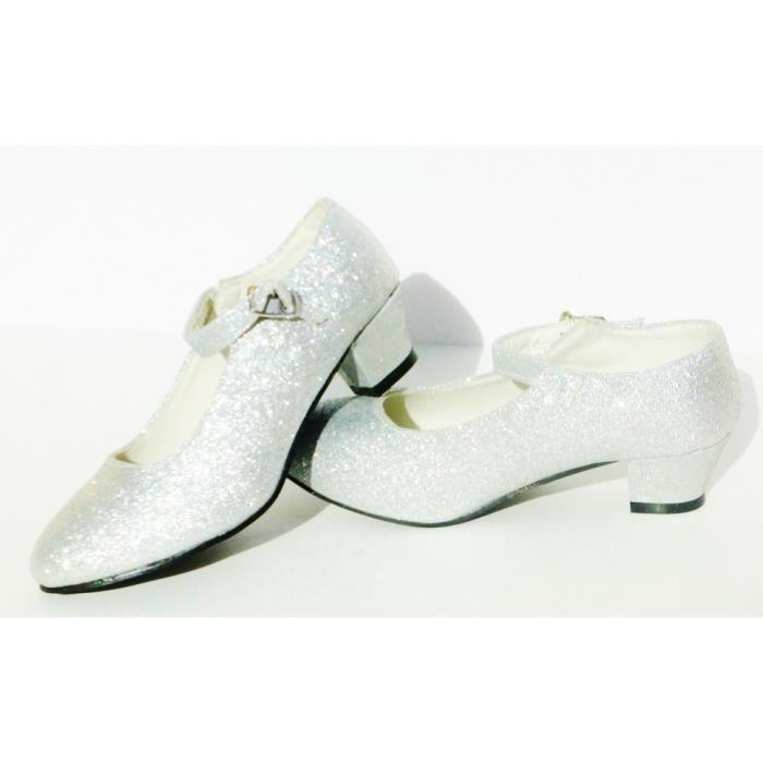 Chaussures escarpin enfant gris à paillettes argentées de danse FLAMENCO / TANGO fille fillette
