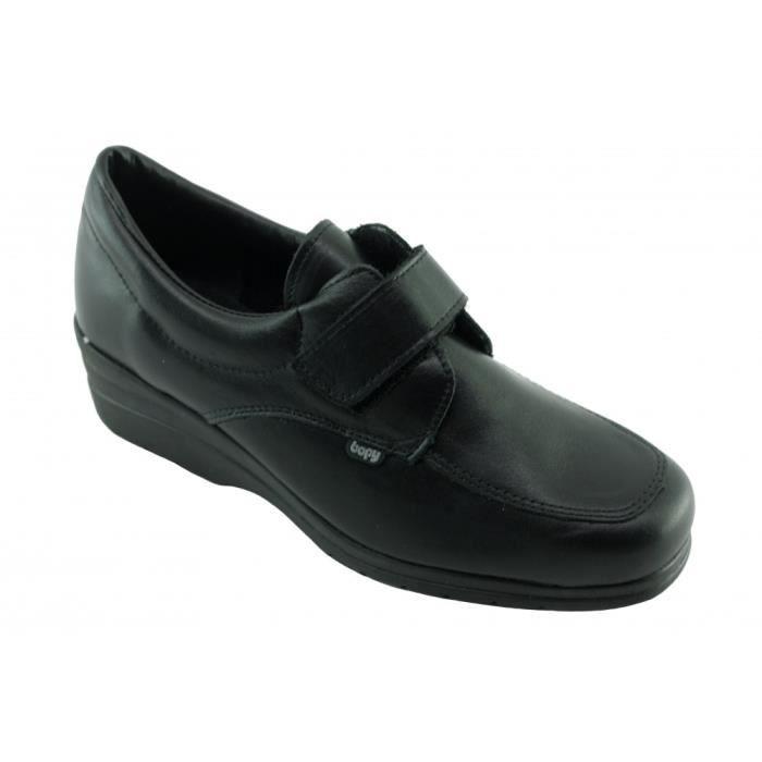 Déluge – Tennis Baskets velcro pour Femme chaussure sport scratch  confortable et pieds sensibles marque Bopy confort cuir noir 890f73d5047c