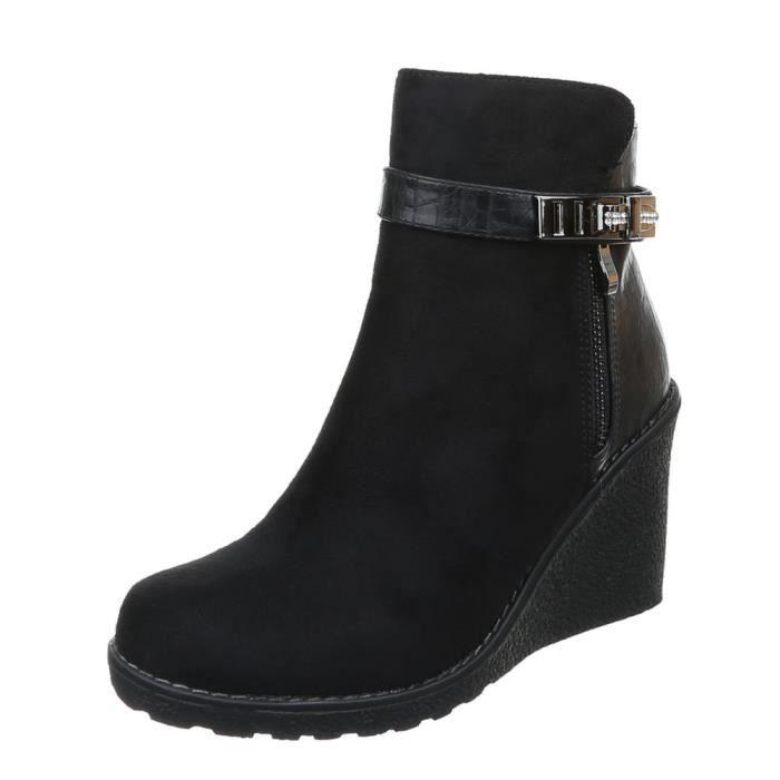 femme bottine chaussure semelle à talon compensé Wedges Boots par Strass