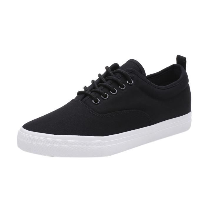 Chaussures Sport Toile Solides Plates Casual Up Lace Mode Noir Oisifs Hommes aWZ6qBYx