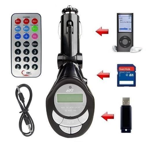 Transmetteur FM MP3 Allume-cigare USB/SD/iPod