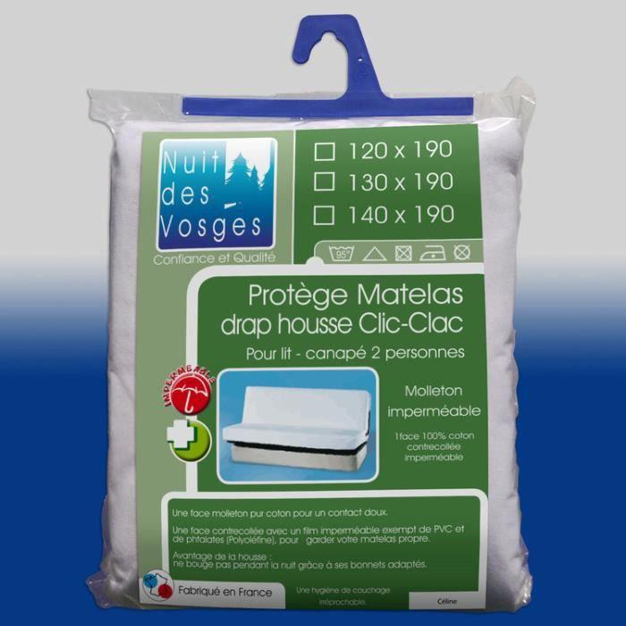 Protège matelas alèse clic clac imperméable molleton 100% coton