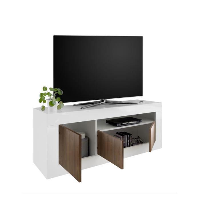 MEUBLE TV Meuble TV 3 portes Blanc/Noyer - LUBIO - L 138 x l