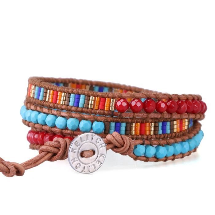 Womens Red Agate Turquoise Beaded 3 Wrap Bracelets Natural Leather Summer Jewelry GNOGH