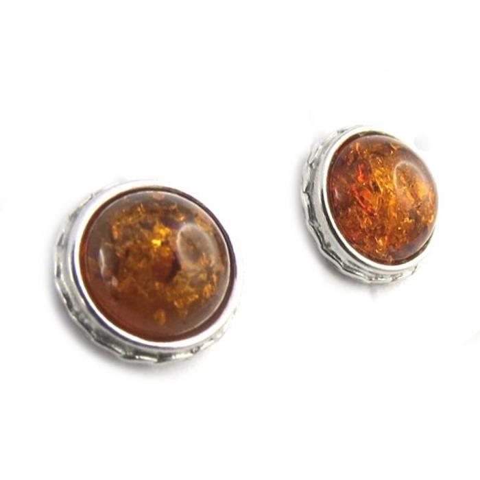 Les Trésors De Lily [N1992] - Boucles Argent Inspiration ambre cognac (rhodié) - 10 mm