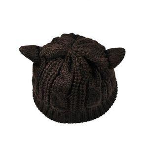 CASQUETTE Lady filles hiver tricot chaud laine chat oreille
