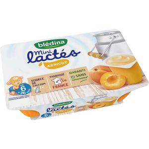 DESSERT LACTÉ BLEDINA Mini lactés Abricot - 6x55 g - De 6 à 36 m