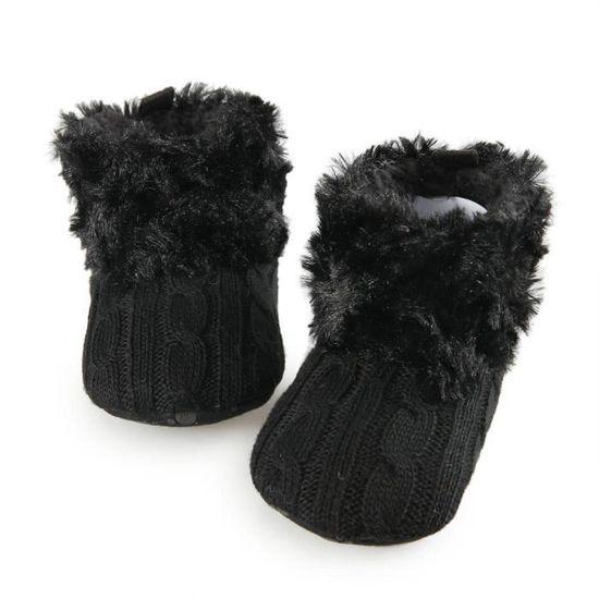6061515f64bfe Bottes chaussures bébé filles seule fourrure chaude Noir Noir ...