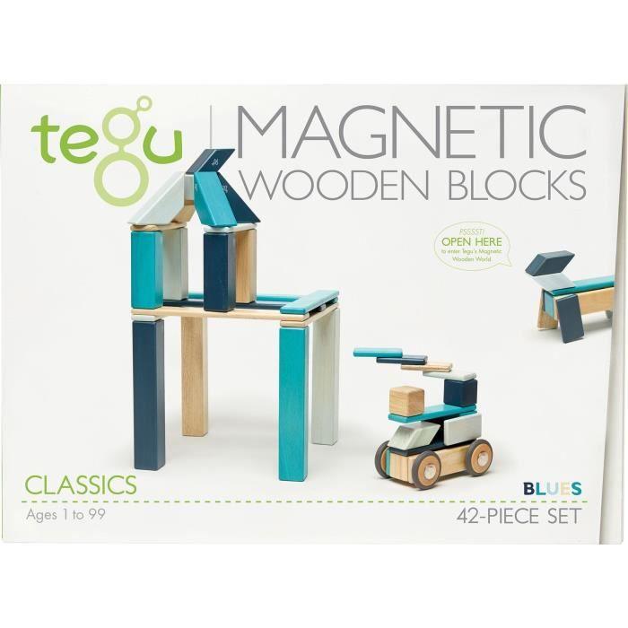 TEGU Blues 42 Pièces - Blocs de bois aimantés - Jeu de construction