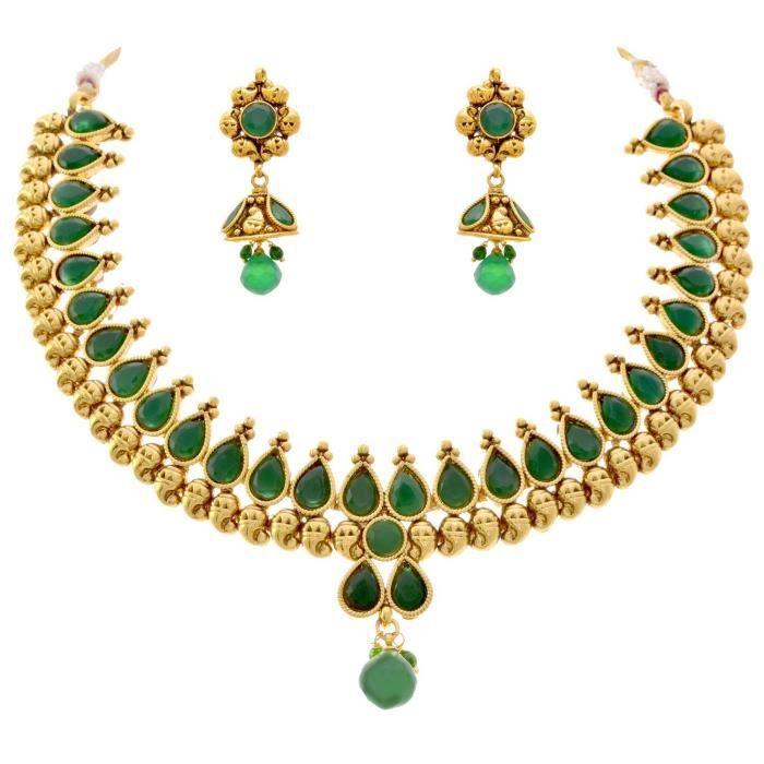 Femmes Jfl - Royal & Ravissant un gramme dor plaqué de pierre Designer Set collier pour. OFPO6