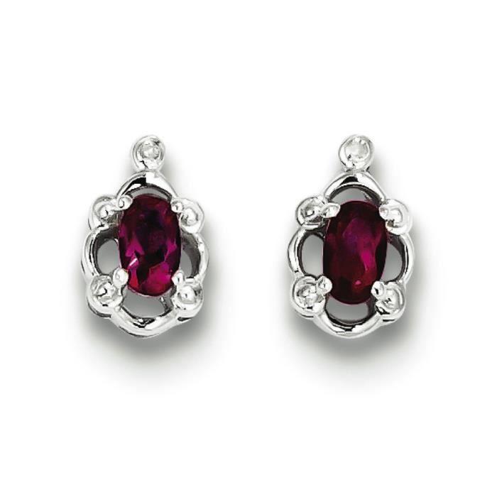 Argent Sterling a créé avec rubis et diamant Motif Boucles doreilles
