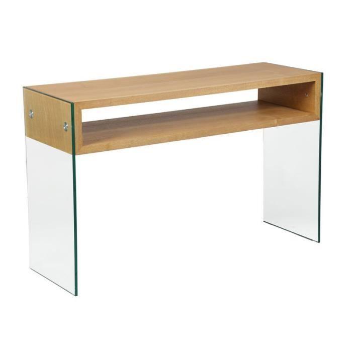 console verre et bois zorg n 1 l 120 x l 40 x h 75 cm. Black Bedroom Furniture Sets. Home Design Ideas